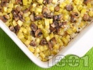 Рецепта Печени тиквички на кубчета с ориз и гъби на фурна (без яйца)